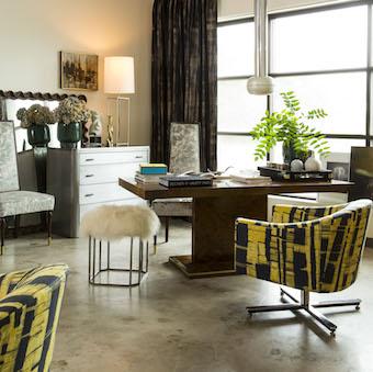 curtains, sofa, chair, table, drawer