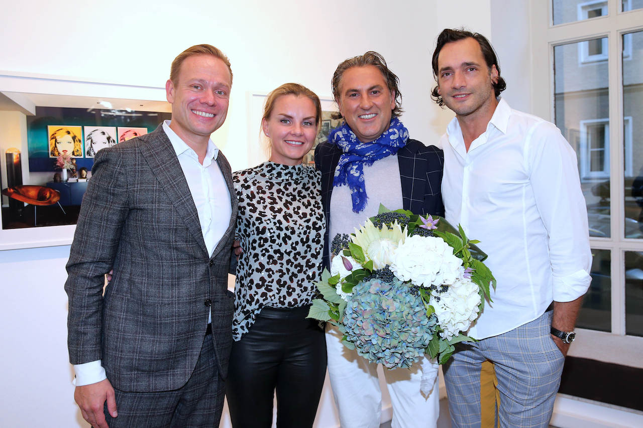 "MUNICH, GERMANY - SEPTEMBER 17: Andre Morczynski and his wife Jana Morczynski, Owner Grand Hotel Heiligendamm, Interiordesigner Peter Buchberger and his partner Branko Jovic during the book launch of ""Peter Buchberger - Wohndesign"" by Peter Buchberger on September 17, 2019 in Munich, Germany. (Photo by Gisela Schober/Getty Images for Peter Buchberger)"